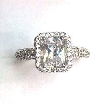 Brand New Cubic Zirconia Crystal Handmade Engagement Wedding ring Band size-8.25