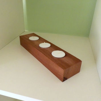 Handmade Candle Tealight Holder, Exotic Sapele Wood, Natural Rustic, Hand Crafted, Home Decor, Wedding Table Decor & Christmas Present
