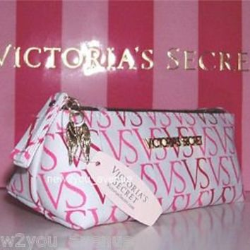 Victoria's Secret VS Logo Pink Gold Angel Wings Travel Makeup Cosmetic Bag New