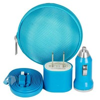 Soundlogic 4-Piece Travel Lightning Charging Kit - Blue | Staples