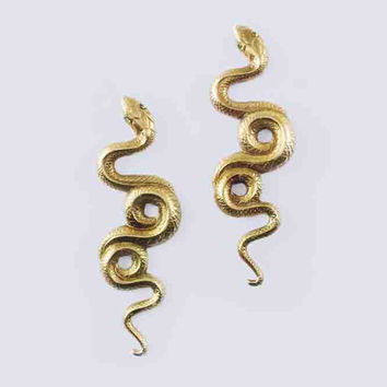 Serpent Stud Earrings, Brass or Silver