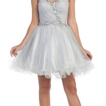 Poofy Short Homecoming Dress Silver Tulle Strapless Rhinestones