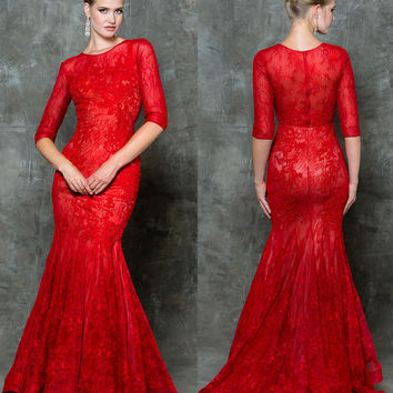 GLOW G733 Half Sleeve Lace Mermaid Prom Evening Dress