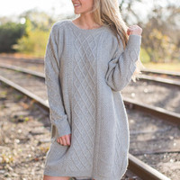 Detail It All Sweater Dress, Gray