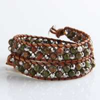Green Frosted Agate And Silver Mix Wrap Bracelet