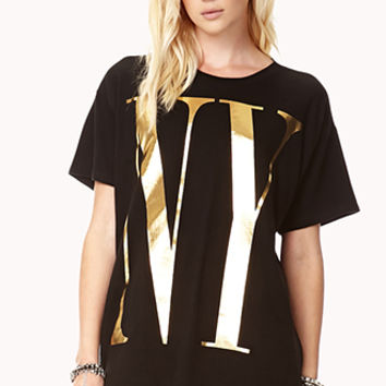 FOREVER 21 Big City Tee Black/Gold