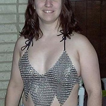 Fancy Chainmail Handmade Long Female Top Halter Beachwear