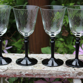 4 vintage French crystal swirled 6 oz sherry glasses, black stemmed liquor glasses, French crystal swirled toasting glasses, vintage glass
