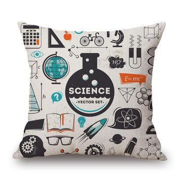 Tools elements science Kids Child Enlightenment Massager Pillow Decorative Vintage Pillows  Cover Home Decor Gift