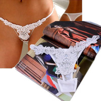 Sexy Women Charming Mash Crystal Lace Thong Lingerie Panties Underwear = 5987671489