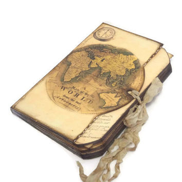 Personalized Travel Wedding Guest Book, Old World Compass Travel Journal, World Map Memory Book, Bridal or Baby Shower Guest Book