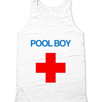 Pool Boy Red Cross Lifeguard Unisex Tank Top
