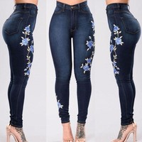 Blue Floral High Waisted Denim - Women Skinny Ripped Pants High Waist Stretch Jeans Slim Pencil Denim Trousers