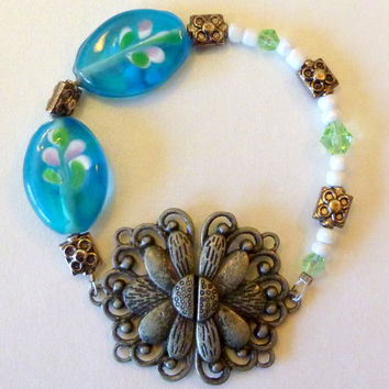 Green & Turquoise Glass Bracelet with Antique Pewter Flower Clasp. Pewter Jewelry. Blue. Pink. White. Silver Beads. Sale. Clearance Jewelry