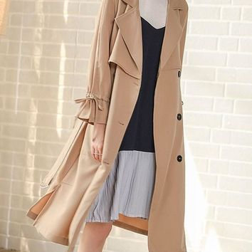 Khaki Belt Bow Double Breasted Slit Casual Trench Coat