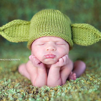 Green Yoda Baby Hat by KnitBabyCouture on Etsy