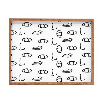 Laura Redburn seeing faces Rectangular Tray