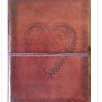 """LOVE journal 5"""" x 7"""" Heart leather blank book w/cord"""