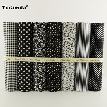 NEW 7PCS Dark Color Series 100% Plain Cotton Fabric Charm Pack for Quilting Flloral Design Patchwork Tecidos Patchwork  Telas