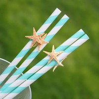 Paper Straws, Starfish Embellishment, Beach Party Decor, Beach Wedding, Tropical Bar Decor - Set of 10