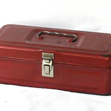 Vintage Metal Toolbox Red with Handle | Rectangular Handheld Toolbox | Craft Storage Box | Farmhouse Decor | Industrial Toolbox with Patina