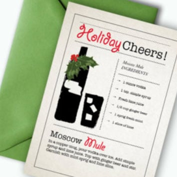 Christmas Party Card - Mixology Gift -Cocktail Party Invite - Printable - Party Ideas - Bartender Gift - Xmas Card