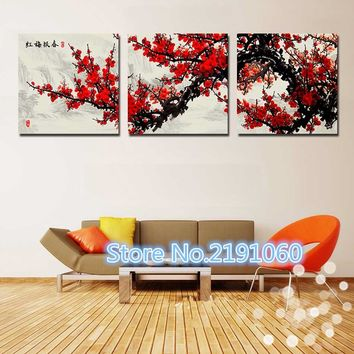 3 Piece Wall Art Canvas Painting Home Decor Dark Red Chinese Flower Tree Modern Wall Pictures For Living Room Modular Pictures