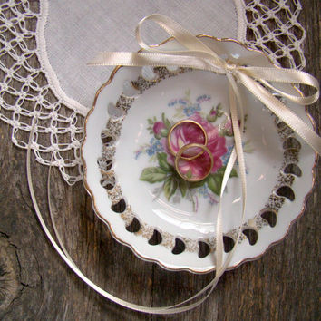 Ring Pillow Alternative, Vintage Ring Bearer Dish, Ring Bearer Bowl, Vintage Inspired, Pink Rose, Country, Cottage Wedding