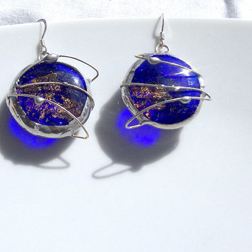 Blue spatial earrings,artisan earrings,fused glass jewel,blue glass and gold foil,Tiffany,blue,gold,blue earrings,glass earrings,unique,blue