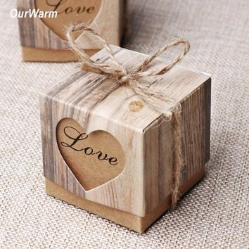 OurWarm 50PCS Kraft Candy Box Wedding Favors and Gifts Wedding Souvenirs Vintage Valentine's Day Present Event Party Supplies