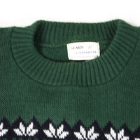 Vintage Green Snowflake Sweater for Men by Sears Size S