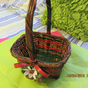 Unique Christmas Basket with Bells - Perfect Flower Girl Basket - Vintage Holiday Wicker Basket - Red Green - Bow Bells - White Poinsettia