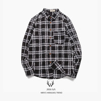 Men's Fashion Vintage Autumn Cotton Linen Ruffle Casual Plaid Shirt [7929484995]