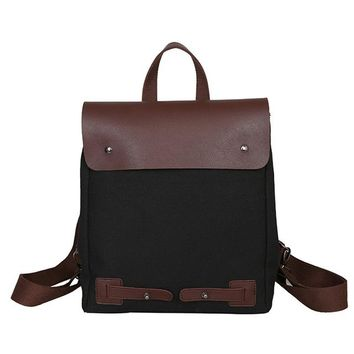 Cool Backpack school Women Quality Leather Canvas Backpack Leisure Travel Rucksacks for Girls Teenager Cool Contrast Color Preppy Style School Bag AT_52_3