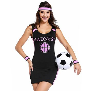 Cheerleading Uniforms 2018 Russia World Cup Costume Tank mini Black Dress Shiny Dancing Clothes Party Cheeeleader Suits Dresses