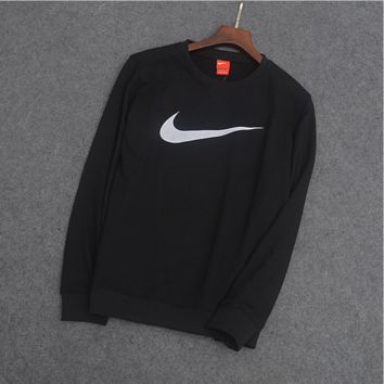 """NIKE""Round collar Pure cotton lap tops net hook Black"