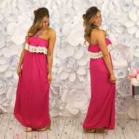 Dreaming of Lace Maxi Dress in Pink