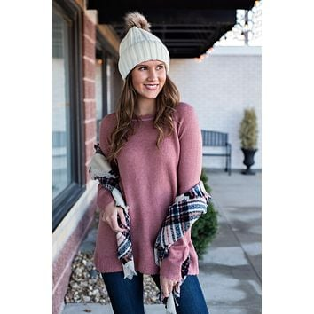 Snowy Kisses Distressed Detail Sweater : Mauve