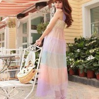 Voguish Symphonious Contrast Color Gauze Layer Thick Strapped Long Dress