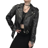 Classic 80s Oversized Vegan Leather Motorcycle Jacket