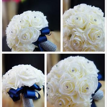 13pc wedding bridal party flowers-supreme silk flower roses with navy blue ribbon-bouq