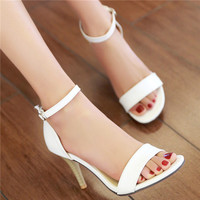Sexy Women's Sandals Summer Open Toe Red Sole Ankle Strap Party Thin High Heels Female Solid Plain Beige Shoes