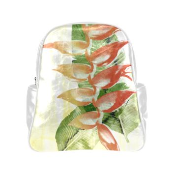 Personalized Backpack Tropical Heliconia Pockets Unisex Classic School Bag