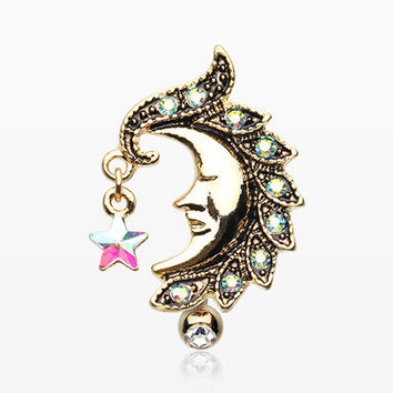 Golden Sparkle Star Crescent Moon Reverse Belly Button Ring