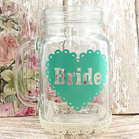 Bridesmaid Glasses Mason Jar - Wedding Party Glasses - Maid of Honor - Bachelorette Party Glasses - Mason Jar Wedding Favors - Country Bride