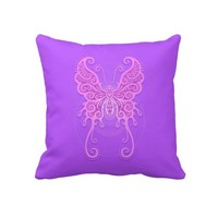 Intricate Light Purple Butterfly Throw Pillows from Zazzle.com