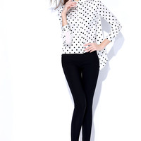 White Polkadot Sleeve Collared Chiffon Shirt