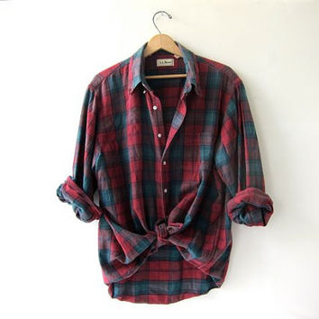 Vintage red LL Bean boyfriend flannel / Grunge Shirt