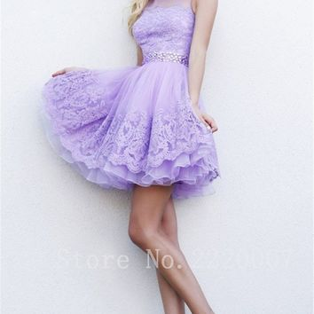 Graceful Scalloped Ball Gown Formal Dress Short Homecoming Party Organza Cheap Cocktail Dress Appliques Cocktail Dresses
