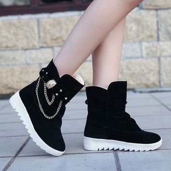 ca PEAPTM4 On Sale Hot Deal Winter Korean Suede With Heel Flat Butterfly Boots [11144746887]